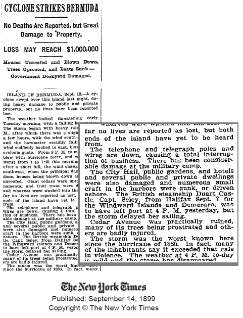 New York Times article on Bermuda cyclone, from September 1899