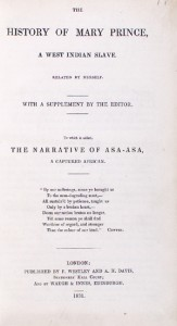 frontpage of The History of Mary Prince, A West Indian Slave, 1831