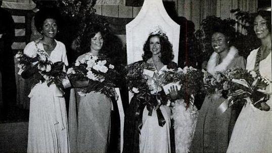 Left to right: 1st runner up Connie Frith, 2nd runner up Cindy Adams, Winner Vivienne Hollis, 4th runner up Valerie Simons, 3rd runner up Judith Harris
