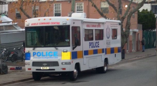 Bermuda Police Mobile Command Unit parked on Court Street Mon, Mar 22