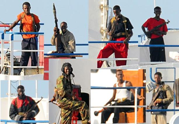 A montage of Somali pirates