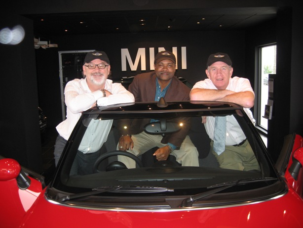Left to Right: Bermuda Docs Festival Director Duncan Hall, Manager of Ultimate Motors Jesse Graham, Bermuda Motors' General Manager Michael Butler
