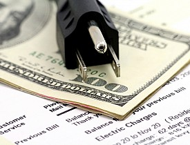 electricity bill money plug stock