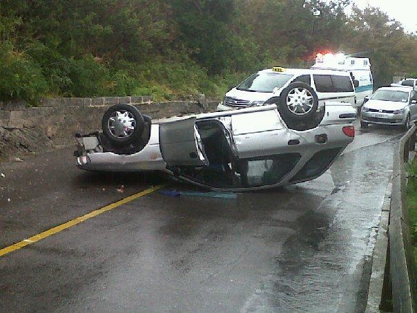 car overturned 3