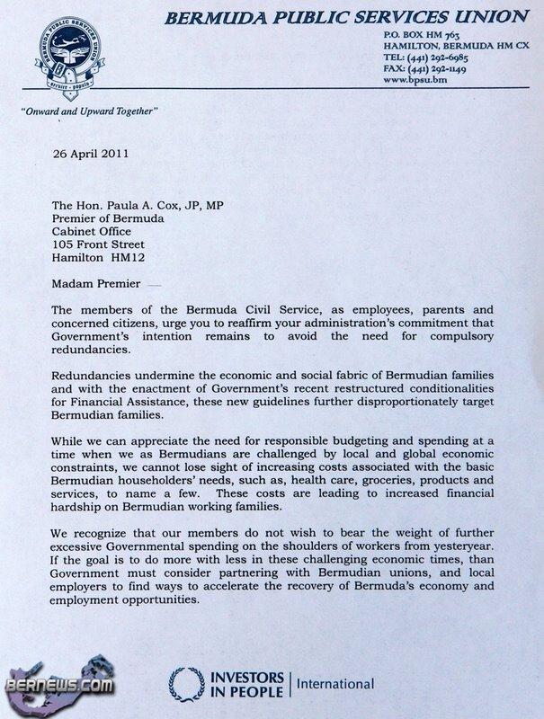 BPSU March Letter To Premier Bermuda April 26 2011