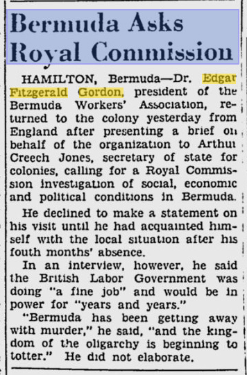 Article in a Canadian newspaper in 1947