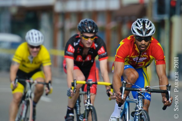 Mark Hatherly, Team Winner's Edge, leads down Front Street