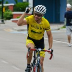Norbert Meyer of Fast Forward Bicycle Works wins the B race