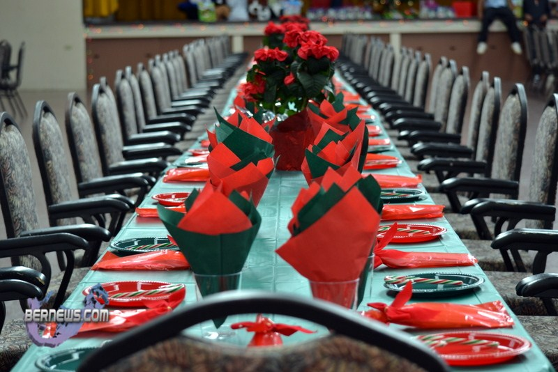 The table set up at the 2011 Christmas Day luncheon: A ... & Christmas Day Luncheon For Families In Need - Bernews