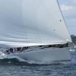 2012 Newport Bermuda Yacht Race -start in Narragansett Bay. . George David's 90ft maxi Rambler leads Class 10 away