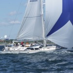 2012 Newport Bermuda Yacht Race -start in Narragansett Bay. Contingency, an Oyster 53 cruising yacht, skippered by Scott Bickford