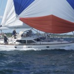 2012 Newport Bermuda Yacht Race -start in Narragansett Bay. Wischbone, an Oyster 53 cruising yacht owned by Cynthia Crofts-Wisch