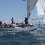 2012 Newport Bermuda Yacht Race - start in Narragansett Bay. The vintage New York 10 class sloop Isla owned by Henry S May Jnr
