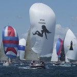 2012 Newport Bermuda Yacht Race -start in Narragansett Bay. Vamp - Leonard J Sitar leads the J44 fleet away