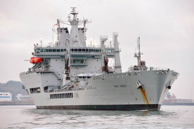 RFA WAVE KNIGHT DEPARTING PORTLAND HARBOUR FOR APT (NORTH)
