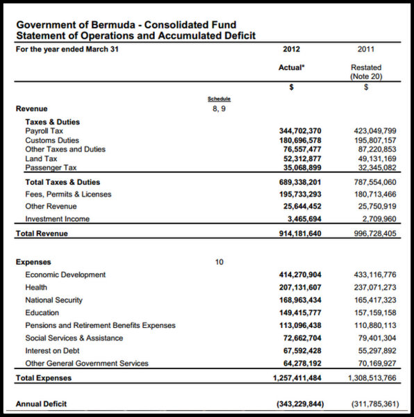 Document Government Financial Statements  Bernews