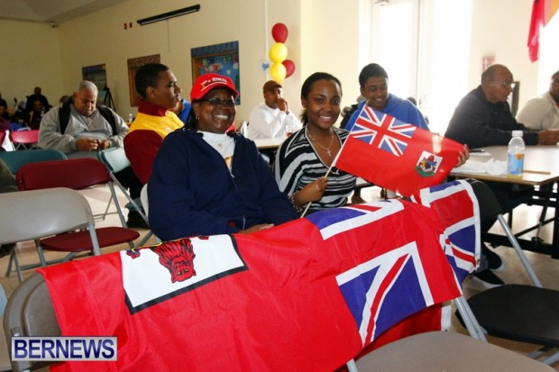 Supporters showing national pride at the screening at CedarBridge