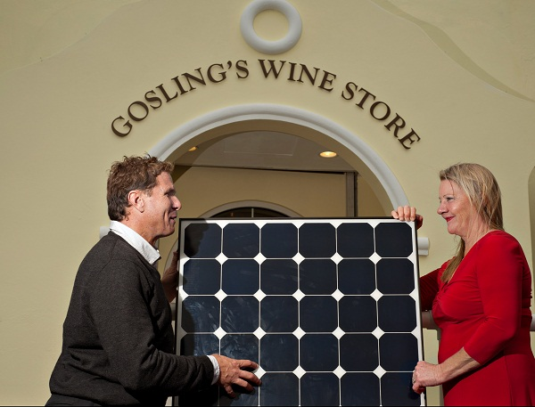 Tim Maderois and Nancy Gosling with solar panel