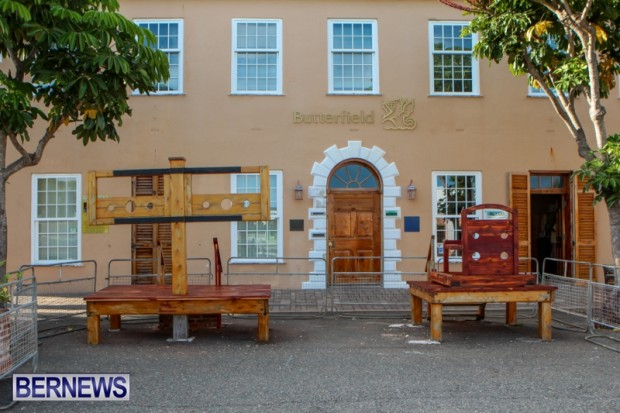 St Georges Town Square Stocks Bermuda, August 21 2013-22
