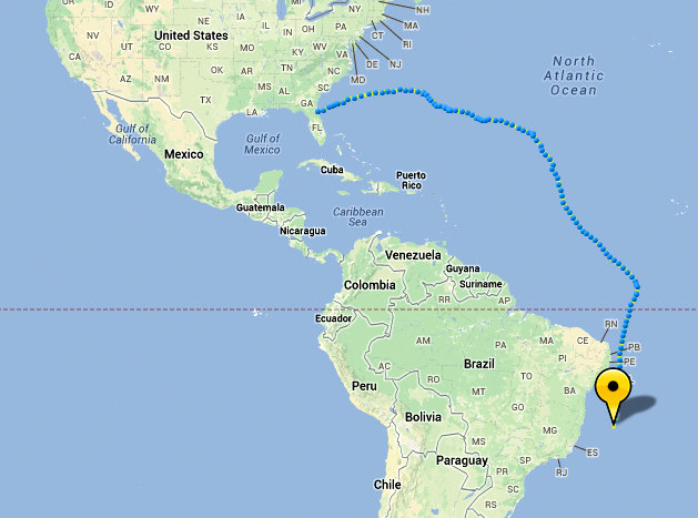 Year Old Sailor Now Located Off Brazil Bernews Bernews - Where is brazil located