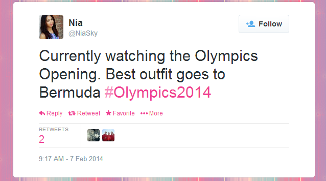 Twitter   NiaSky  Currently watching the Olympics ...