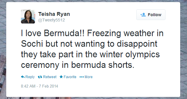 Twitter   Tweety5512  I love Bermuda   Freezing weather ...