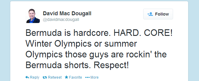 Twitter   davidmacdougall  Bermuda is hardcore. HARD. ...