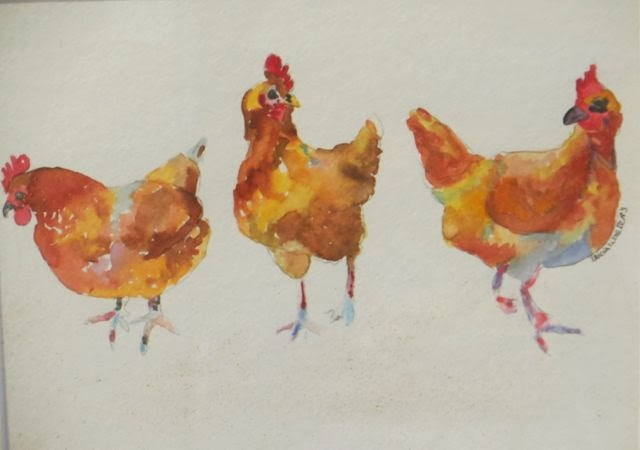 Chicken Chatter-Tricia Walters-Watercolour