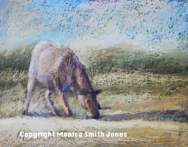 Grazing-Monica Jones-Pastel on watercolour paper