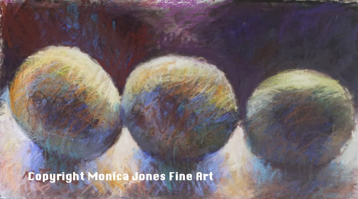 Three lemons-Monica Jones-Pastel on watercolour paper
