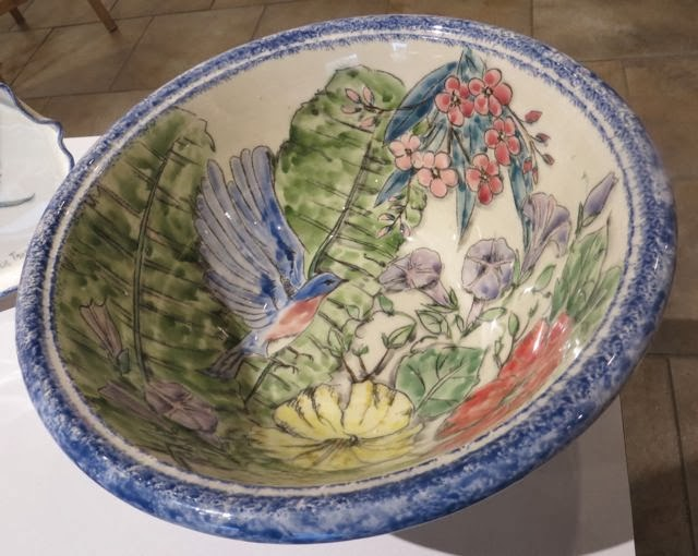 Tropics III-Helle Pukk-Ceramic Bowl