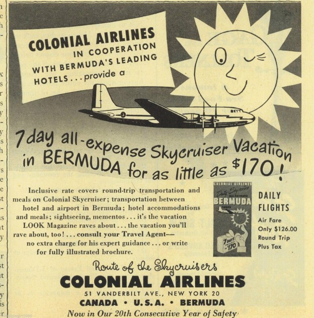 colonial airlines historical bermuda ad