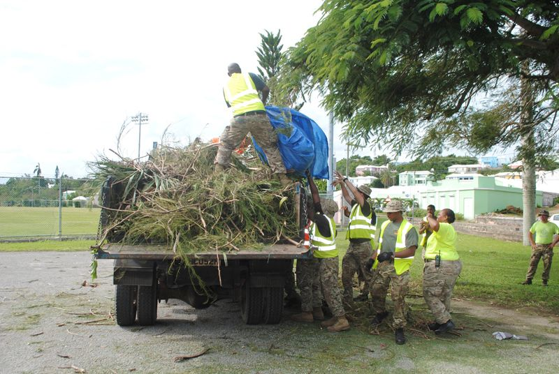 Regiment soldiers with some of the debris cleared away