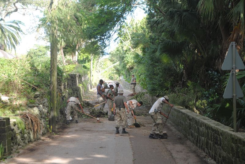 Regiment soldiers clear a stretch of Ord Road