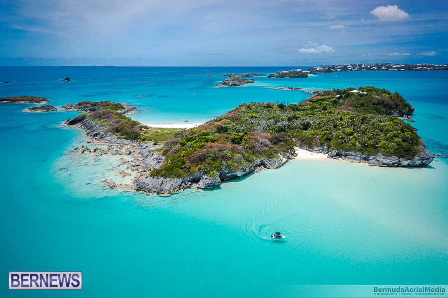 aerial shot of Bermuda Nonsuch island