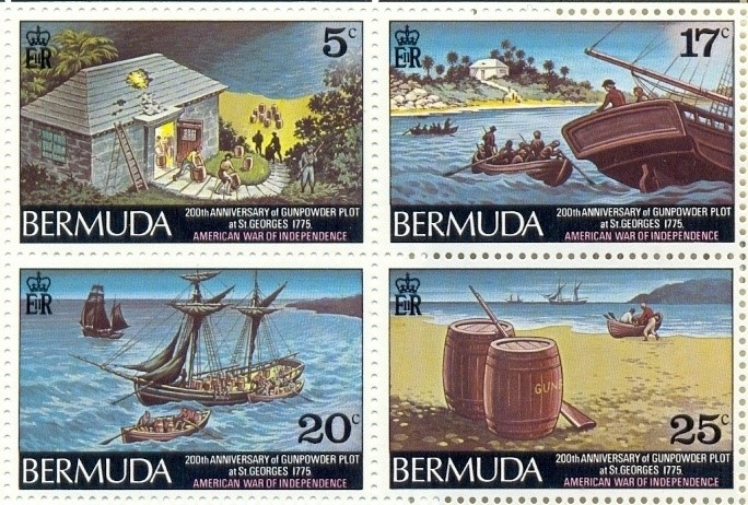 bermuda-gunpowder-plot-stamps issued 1975