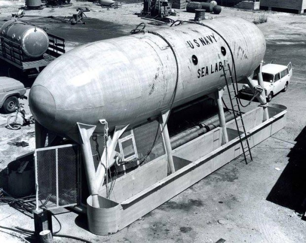 sealab I on pier of Naval base in Bermuda 1964