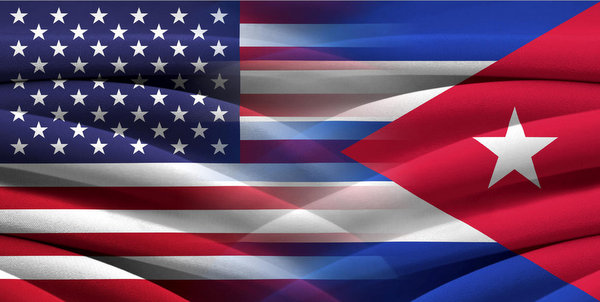 Cuba USA flag banner