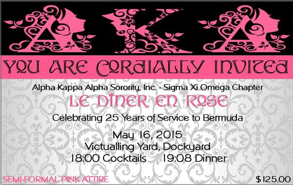Alpha Kappa Alpha Sorority invite AKA le diner en rose