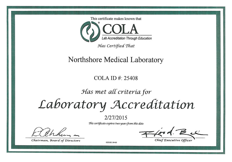 Northshore Medical Laboratory Recognized for Quality Laboratory Services
