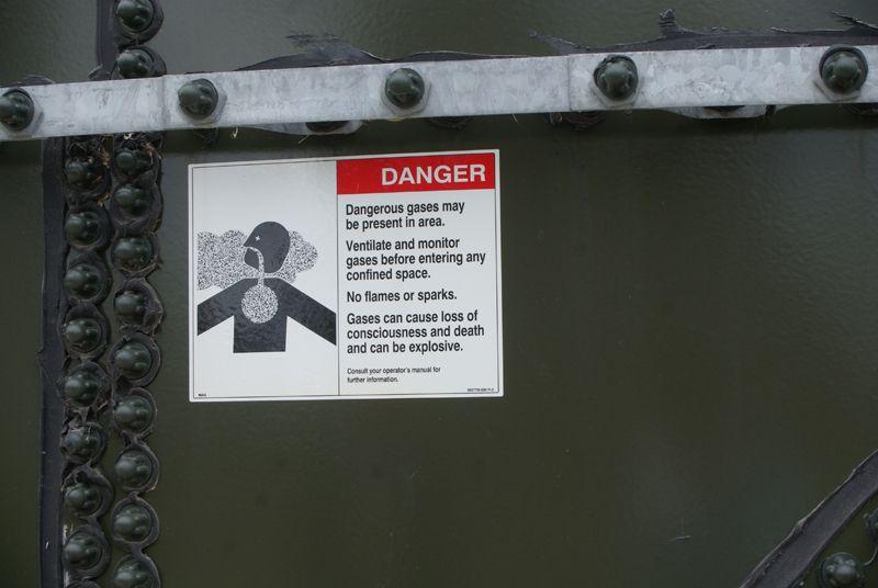 Danger sign on tank