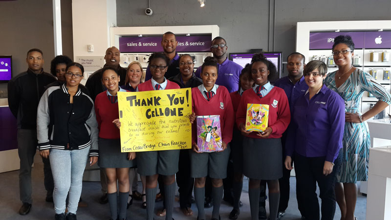 CBA Students give Target Letters to CellOne