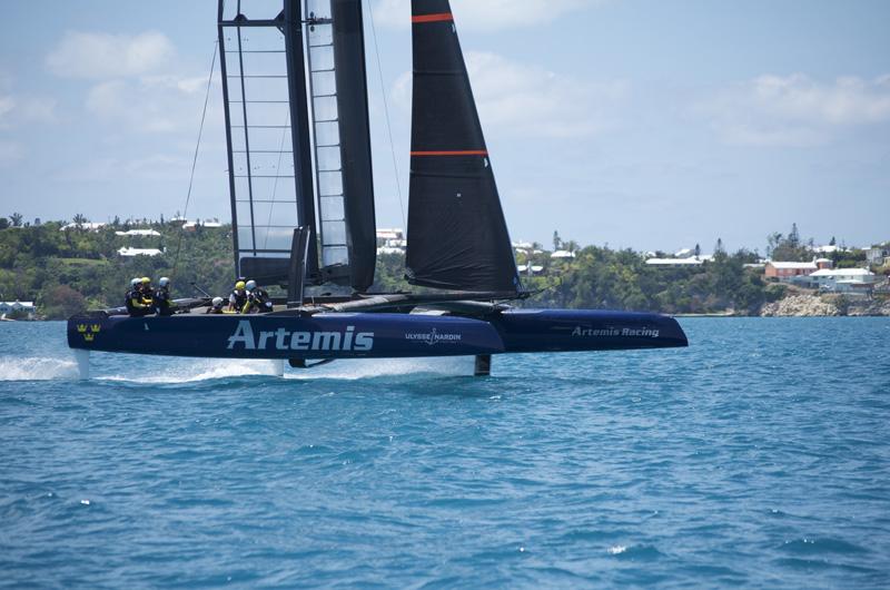 Artemis Racing's foiling AC45 Turbo training in Bermuda