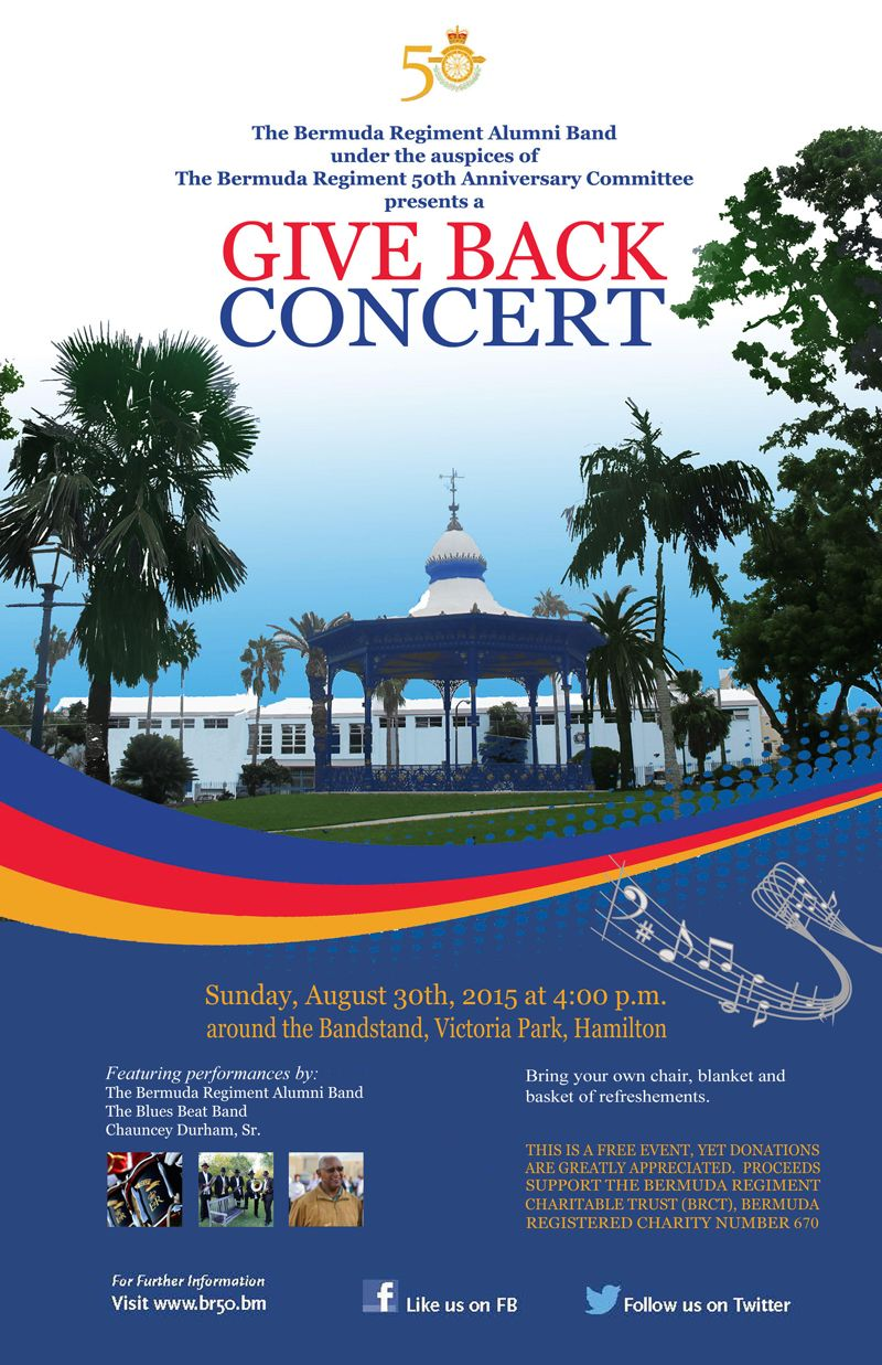 Bermuda Regiment Alumni Band to Host Free Give Back Concert in Victoria Park poster