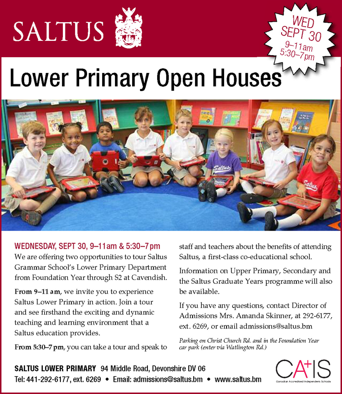 Saltus Lower Primary Open House Wed., Sept. 30th, 9-11am&5.30-7pm