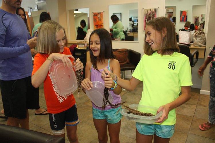 Ava Gabai-Maiato, Zoe Hasselkuss and Jasmin Hasselkuss at Liv hair salon (3)