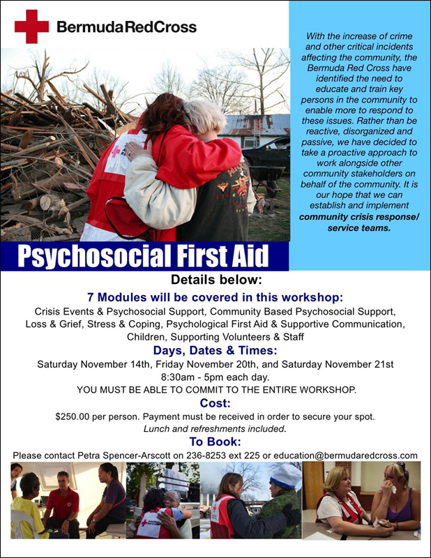 Bermuda Red Cross Psychosocial First Aid November 4 2015