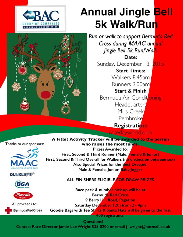 BAC Annual Jingle Bell 5k Walk Run Bermuda Dec 8 2015