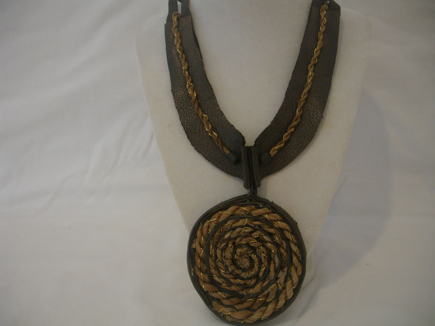 Neck piece crafted from banana leaves