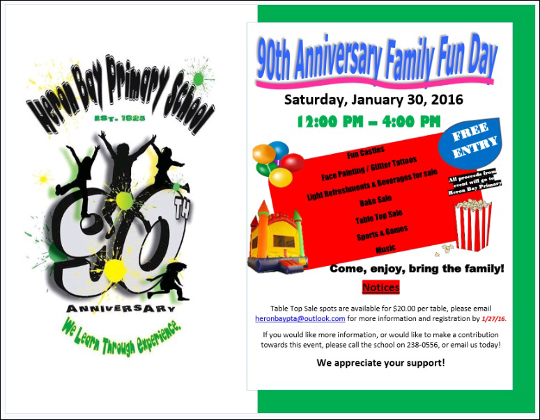 Heron Bay Primary  90th Anniversary Family Fun Day Bermuda Jan 26 2016